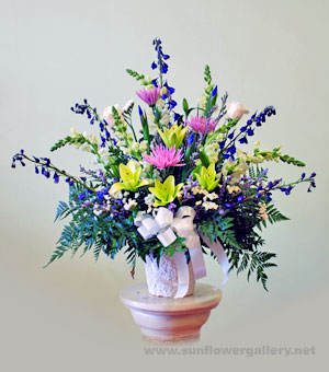 Blue Sympathy Standing Spray by Chicago Funeral Florist in Chicago and suburbs
