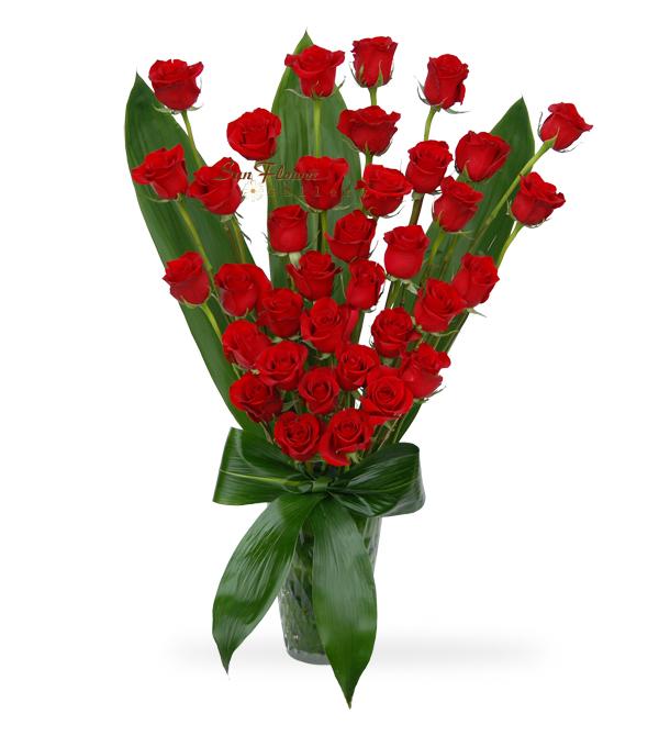Joyful Red Rose Vase