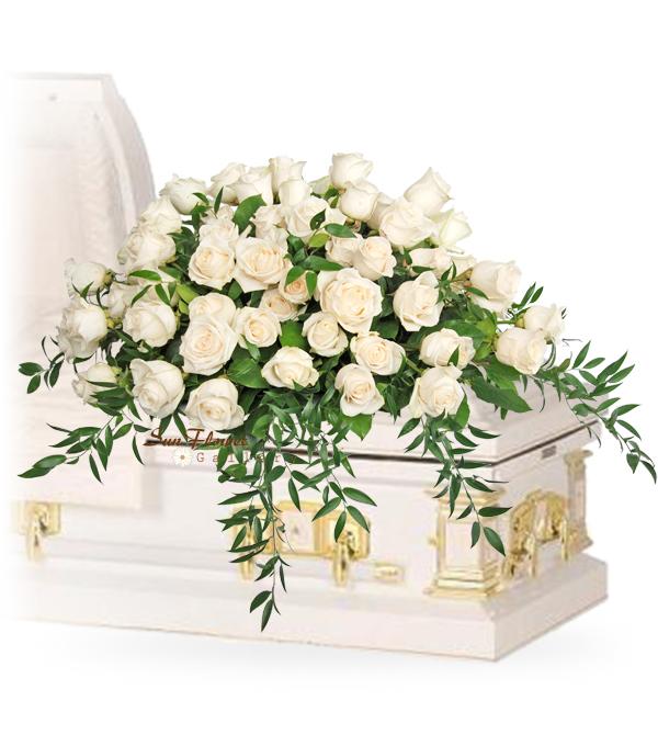Just White Roses Casket Spray