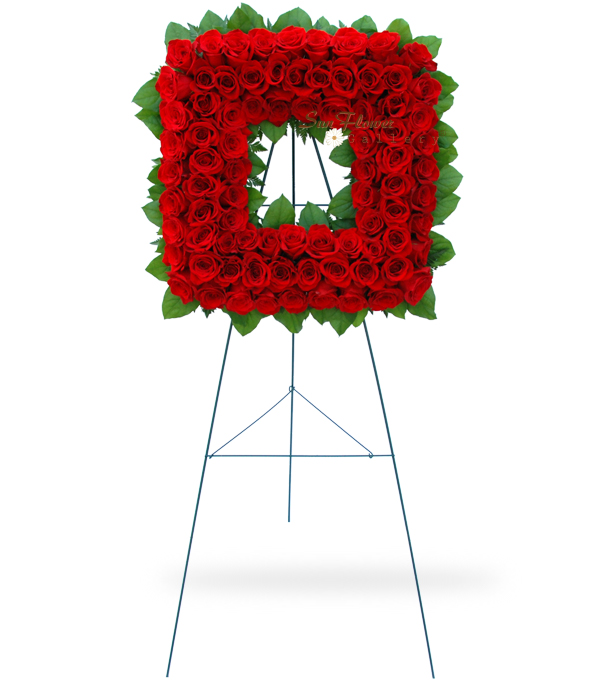 Square Red Rose Deluxe Wreath